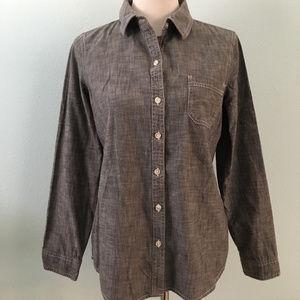 Old Navy Gray Denim Wash Button Down Shirt